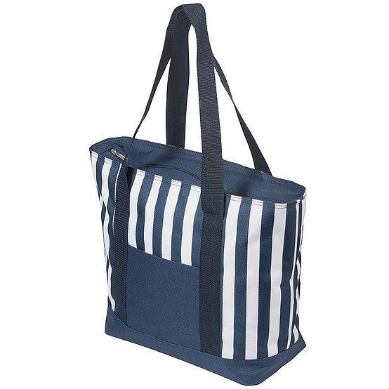 17.5 Litre Zippered Striped Beach Cooler bag 4279BL White Navy Stripe