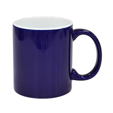 2 Tone Ceramic Coffee Mugs Dark Blue and White
