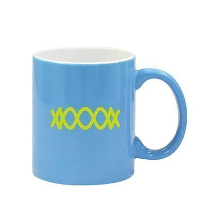 2 Tone Ceramic Coffee Mugs Light Blue and White with Logo
