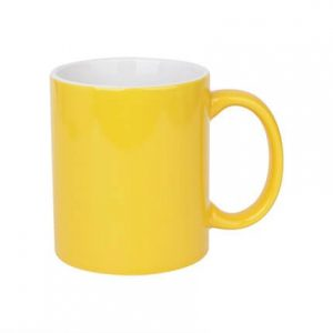 2 Tone Ceramic Coffee Mugs Yellow and White