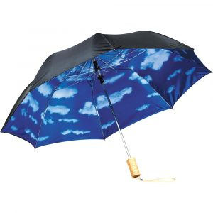 4622 Blue Skies Auto Open Folding Umbrella SB1004BK Black Blue Open Under Sky Print View