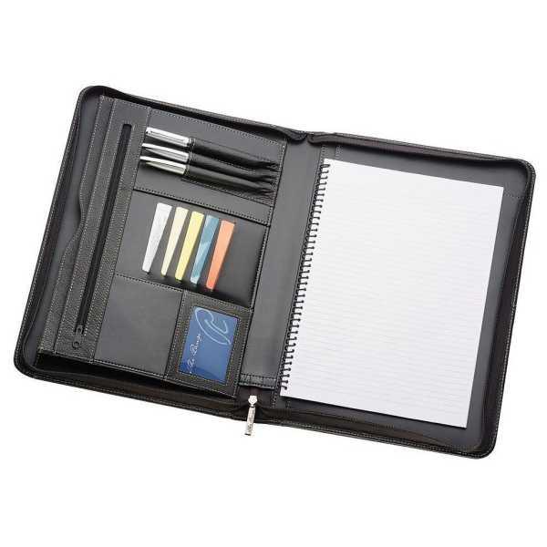 A4 Leather Compendium 505BK Black open