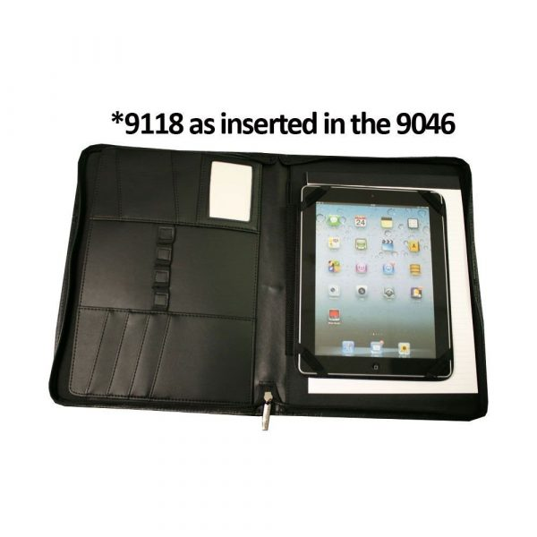 A4 Leather Compendium 9046BK Black Open with Tablet Insert