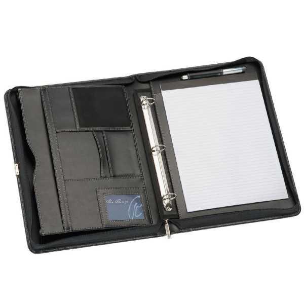 A4 Leather Compendium Binder 9023BK Black Open