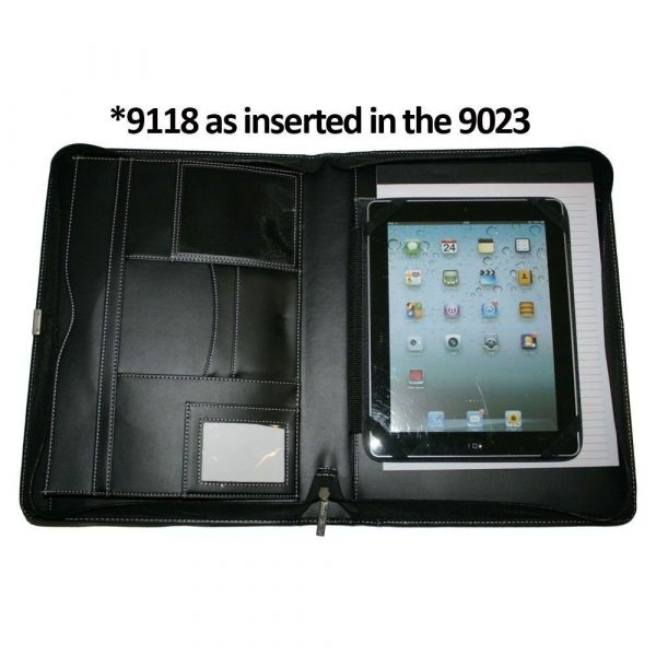 A4 Leather Compendium Binder 9023BK Black Open with Tablet Insert