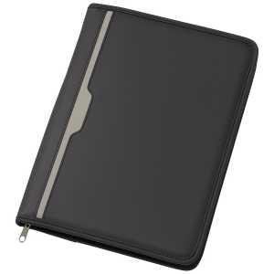 A4 Phoenix Zippered Compendium with Solar Calculator 9206BK Black Front