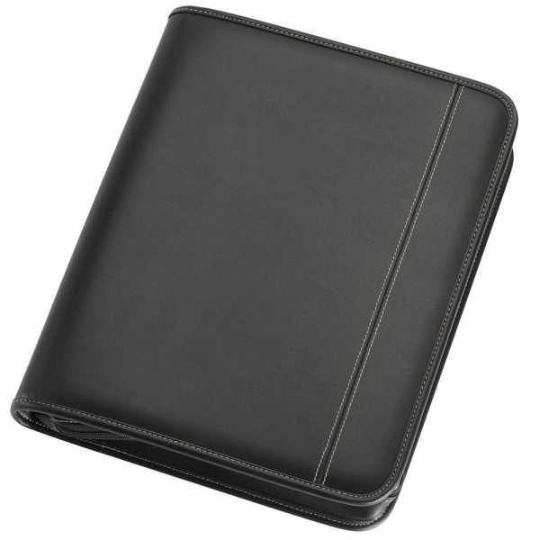 A4 Zippered Compendium 9024BK Black Front
