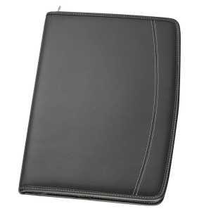 A4 Zippered Compendium 9026BK Black Front