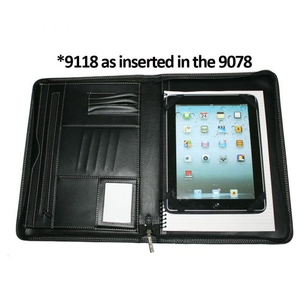 A4 Zippered Compendium 9078BK Black With Tablet Insert