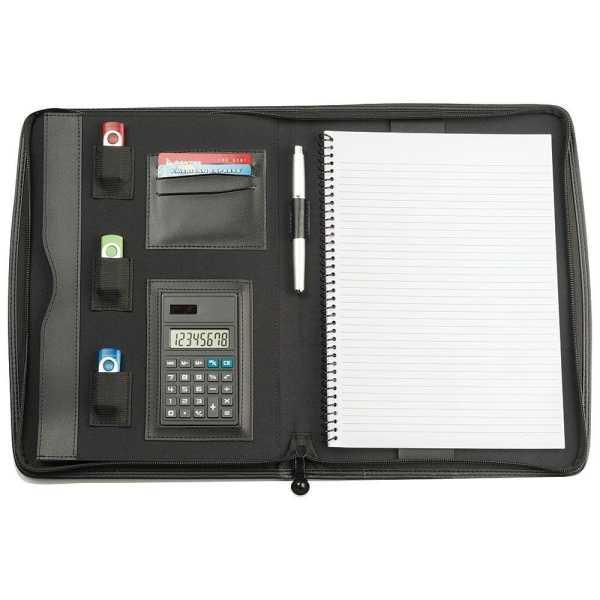 A4 Zippered Compendium 9203BK Black Open