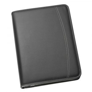 A4 Zippered Compendium with Removable 3 Ring Bind 9032BK Black Front