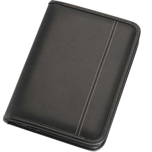 A5 Zippered Compendium 9022BK Black Front