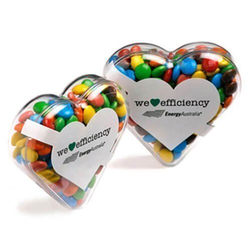 Acrylic Containers with Candy Heart MMs CACC030D Clear