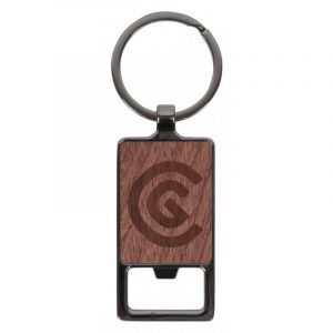 Axil Key Ring Rectangle CAA4087 Wood Branded Front