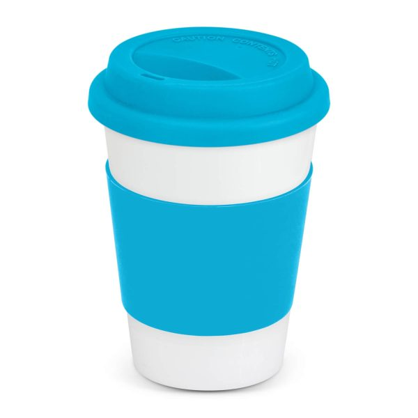 Aztec Ceramic Coffee Cup with Colored Band 115063 Light Blue