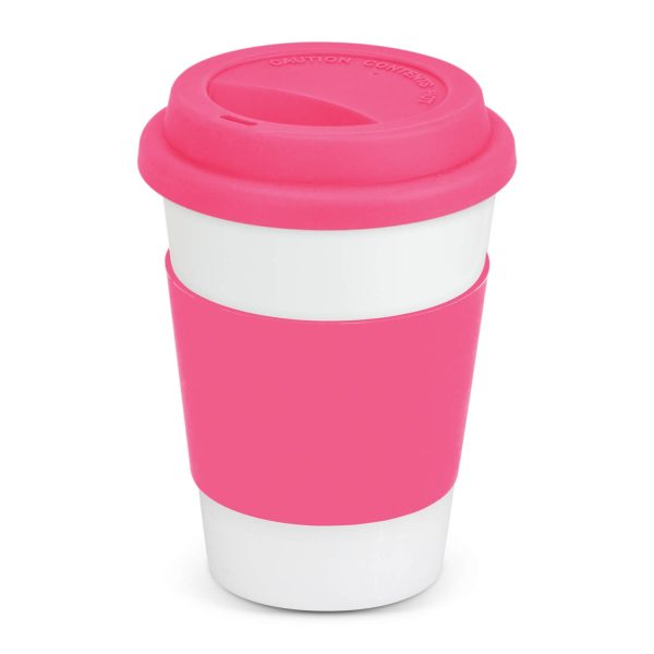 Aztec Ceramic Coffee Cup with Colored Band 115063 Pink