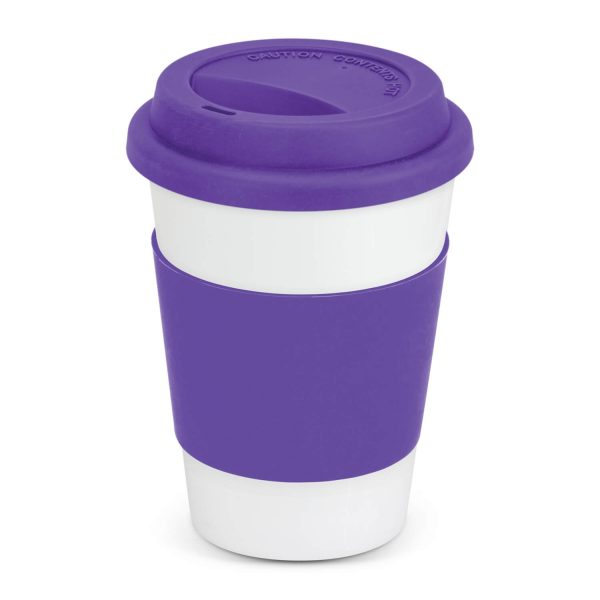 Aztec Ceramic Coffee Cup with Colored Band 115063 Purple