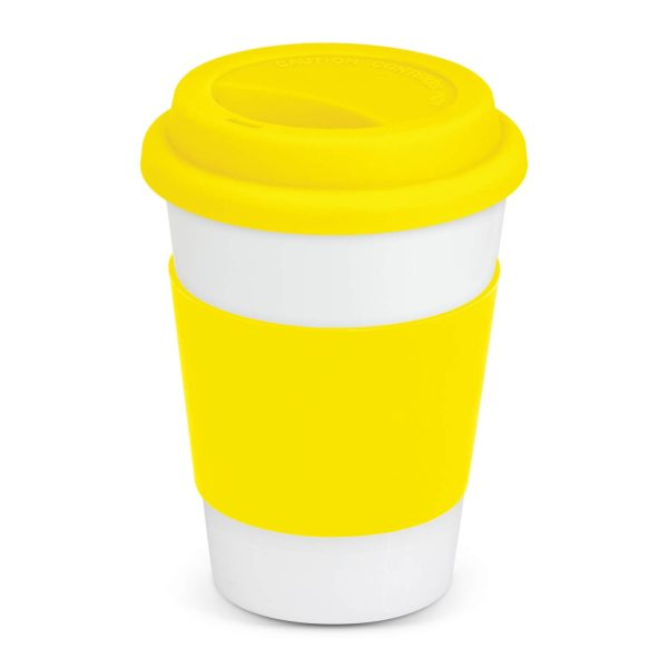 Aztec Ceramic Coffee Cup with Colored Band 115063 Yellow