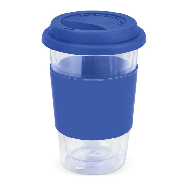 Aztec Double Wall Glass Cup with Coloured Band 115064 Blue