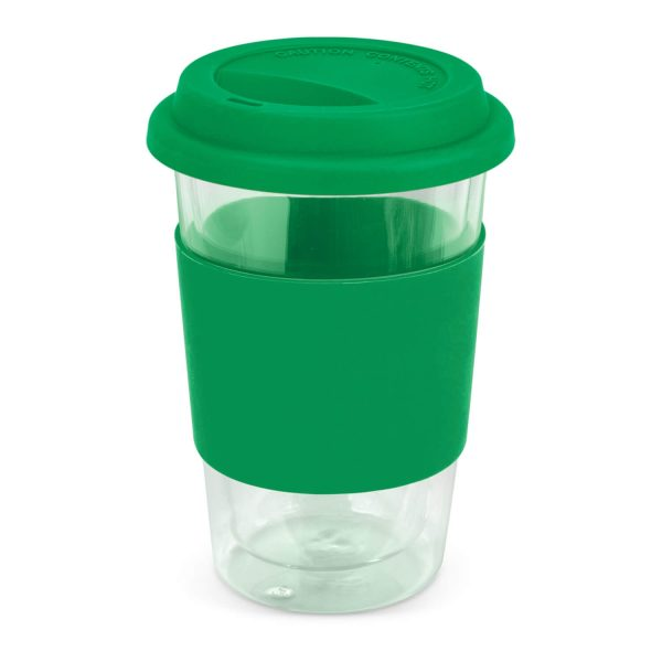 Aztec Double Wall Glass Cup with Coloured Band 115064 Green