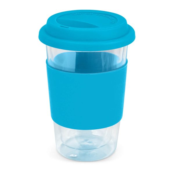 Aztec Double Wall Glass Cup with Coloured Band 115064 Light Blue