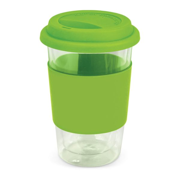 Aztec Double Wall Glass Cup with Coloured Band 115064 Lime Green