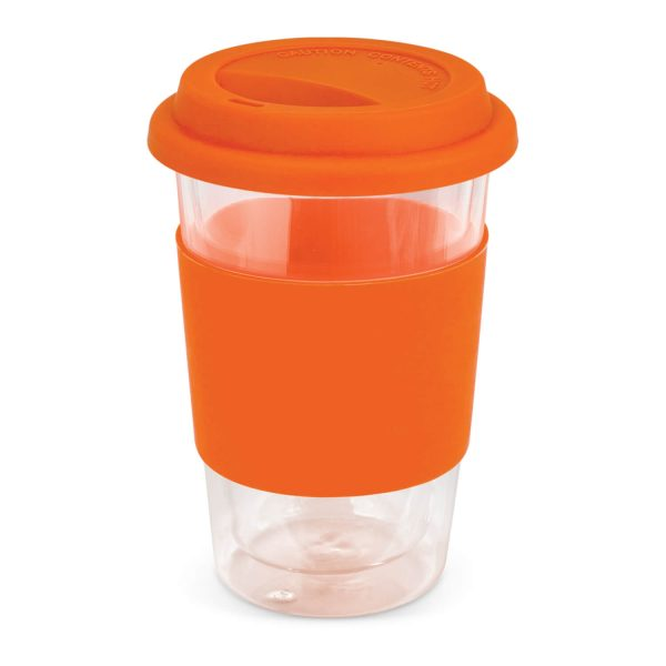 Aztec Double Wall Glass Cup with Coloured Band 115064 Orange