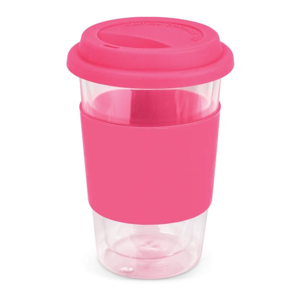 Aztec Double Wall Glass Cup with Coloured Band 115064 Pink