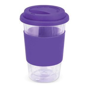 Aztec Double Wall Glass Cup with Coloured Band 115064 Purple