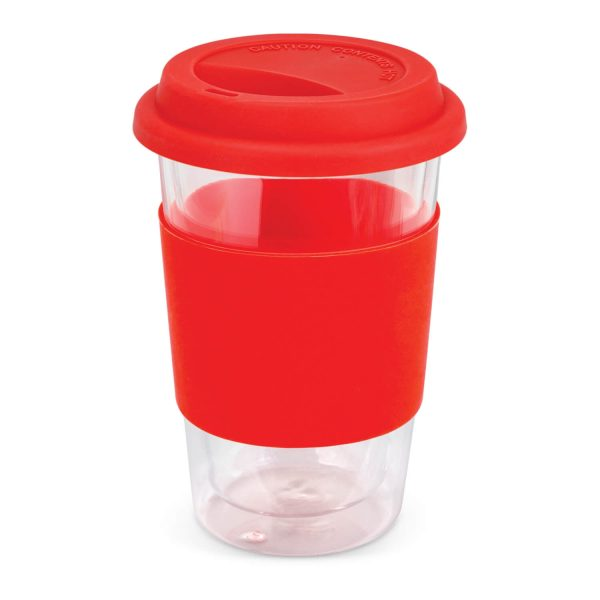 Aztec Double Wall Glass Cup with Coloured Band 115064 Red