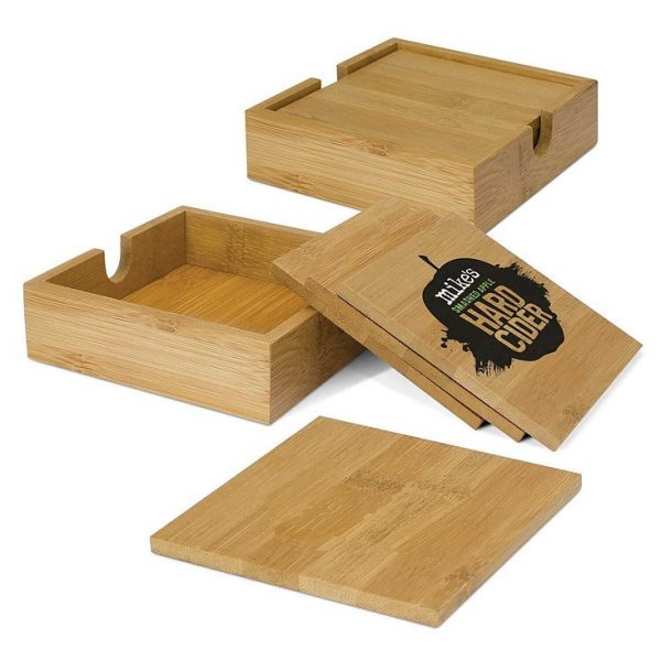 Bamboo Coasters CA13070 Set of Four Natural Branded