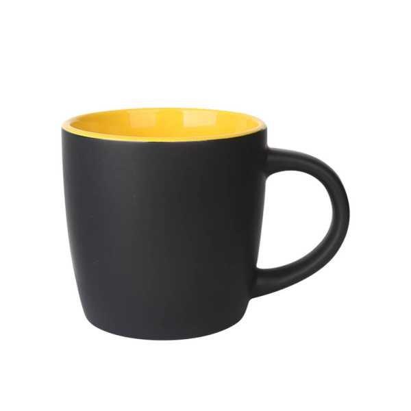 Boston Ceramic Coffee Mugs Black and Yellow