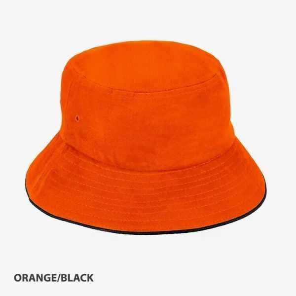 Bucket Hat Sandwich Design AH695 Orange Black