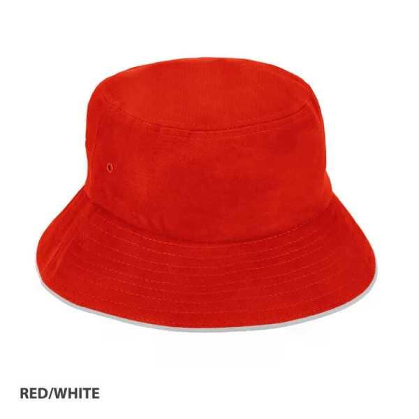 Bucket Hat Sandwich Design AH695 Red White