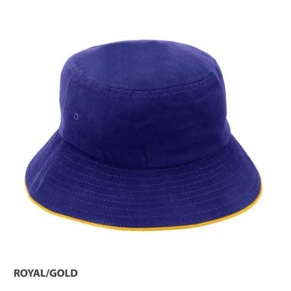 Bucket Hat Sandwich Design AH695 Royal Blue Yellow