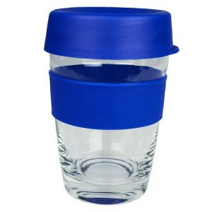 Carry Glass Reusable Coffee Cup with Coloured Silicone Band 1002 Blue
