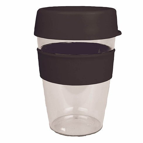 Carry Reusable Coffee Cup Tritan Plastic with Coloured Silicone Band 1001 Black