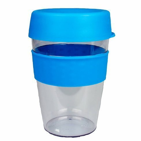 Carry Reusable Coffee Cup Tritan Plastic with Coloured Silicone Band 1001 Light Blue