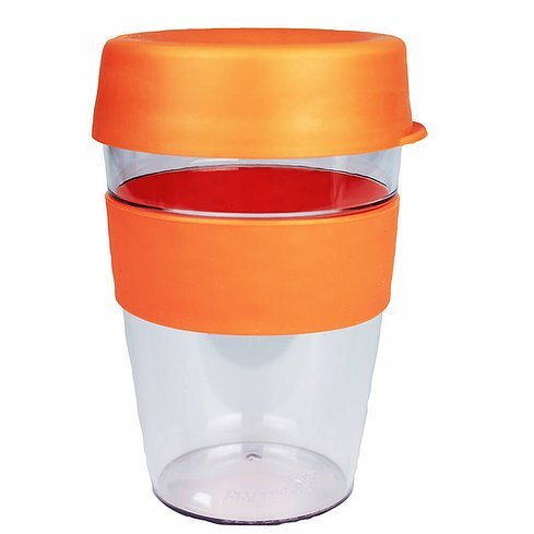 Carry Reusable Coffee Cup Tritan Plastic with Coloured Silicone Band 1001 Orange