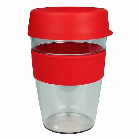 Carry Reusable Coffee Cup Tritan Plastic with Coloured Silicone Band 1001 Red