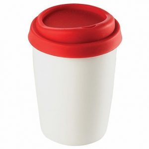 Ceramic Mug with Silicone Lid 4030RD White Red