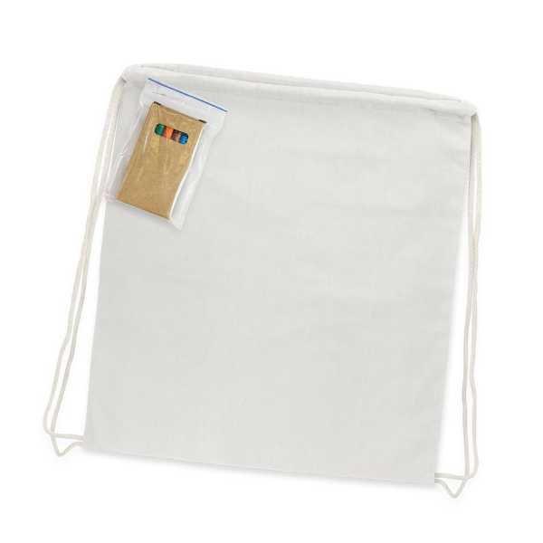 Cotton Colouring Drawstring Backpack 113013 White plain