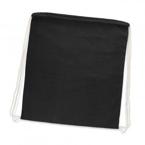 Cotton Drawstring Backpack Black