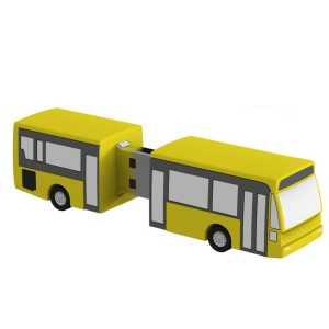 Custom Made PVC USB Flash Drives Bus USB3037 Yellow