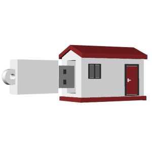 Custom Made PVC USB Flash Drives House USB3053 White Red