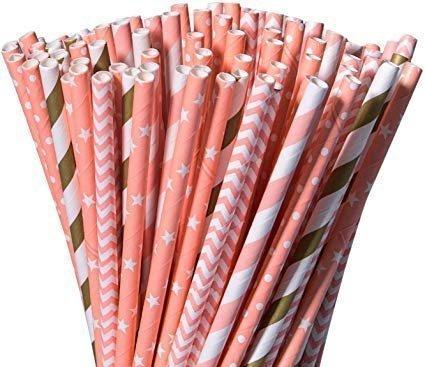 Custom Paper Straws Custom10 Various Colours Patterns