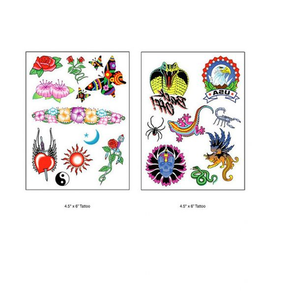 Custom Temporary Tattoo Sheets CAWTSHEET2 Various