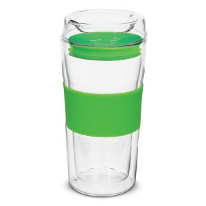 Divino Double Wall Glass Coffee Cup 114338 Lime Green