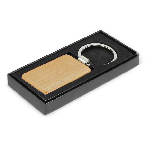 Echo Key Ring Rectangle CA116771 Wood in Black Gift Box