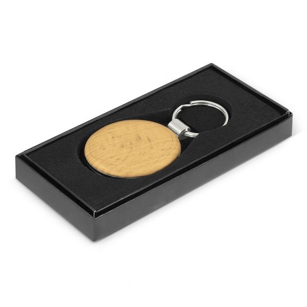 Echo Key Ring Round CA116583 Wood in Black Gift Box